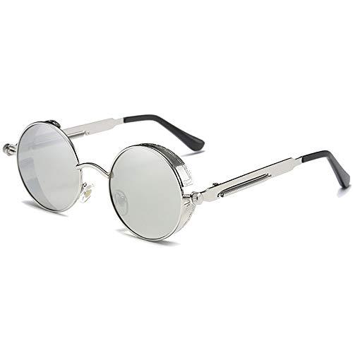 WULE-Sunglasses Unisex Blau/Silber objektiv Silber Rahmen weiblich farbfilm Sonnenbrille Mode persönlichkeit großen Rahmen polarisierte Metall Material Sonnenbrille (Farbe : Silver)