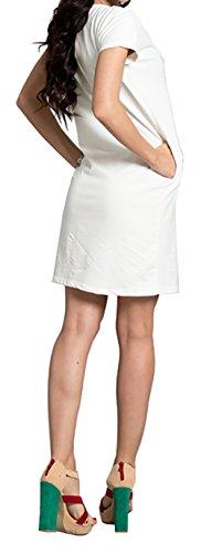 Zeta Ville - Robe jersey manches courtes - encolure chaîne dorée - Femme - 186z Blanc Cassé