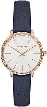 ساعة بايبر للنساء من مايكل كورس بمينا ابيض وانالوج وسوار جلد - MK2804