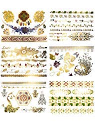 Terra Tattoos Temporary Metallic Tattoos - Over 75 Boho Floral Designs in Gold, Silver, and Metallic Colors (6 Sheets), Aria Collection (Tattoos Temporäre Floral)