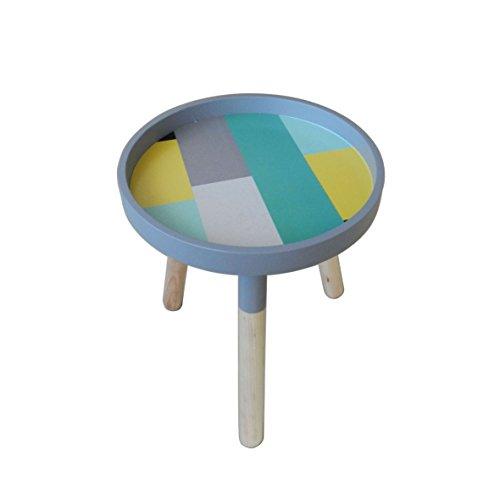 Portable élégant Table basse ronde en bois amovible avec accents de petite table Ckd Table d'appoint avec 3 amovible Legs. Motif carreaux multicolores. Dia.29,2 cm X H34,9 cm