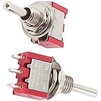 Aexit 2Stk SPDT Gewerbe, Industrie & Wissenschaft ON-OFF-ON 3 Position Momentaner elektrischer Kippschalter AC 120V Elektroinstallation 5A Rot