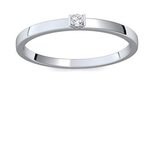 """Verlobungsringe Weißgold 585 Brillant\""""Relation\"""" von Amoonic Damen-Ring mit Diamanten Ringe Weißgold 14k Karat 585 Weißgold Verlobung Ring mit Stein Brilliant schmal 0,04 Carat FF51WG585BRFA53"""