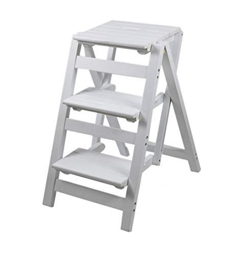 Klappleiter aus Holz Klappstuhl Massivholzleiter Klappstuhl Klappbare Bibliothek Trittleiter Multifunktionaler Küchenleiter aus Holz für Bürozwecke mit 3 Stufen - Weiß