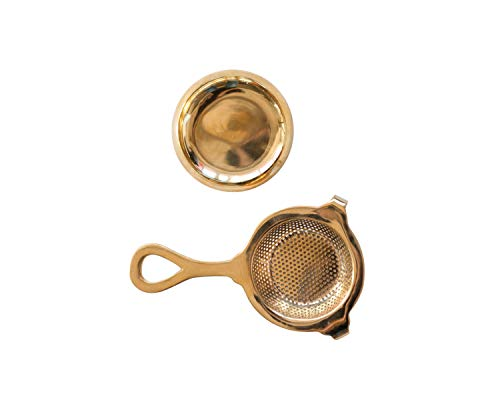Distressed Gold Finish (Creative Co-op Brass Holder (Set of 2 Pieces) Tea Strainer Gold)