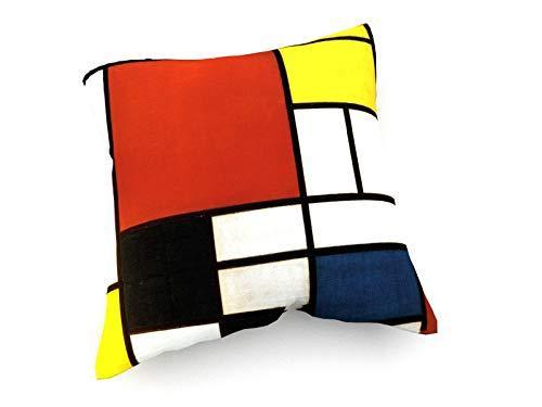 weewado Piet Mondrian - Komposition mit großer roter Fläche, Gelb, Schwarz, Grau und Blau - 40x40 cm - Sofa-Kissen aus Satin - Kunst, Gemälde, Foto, Bild auf Kissen - Alte Meister/Museum