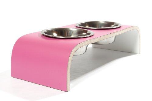 *Juicy Pink & Weiß Designer Kleine (hoch) Hund/Katze Feeder*
