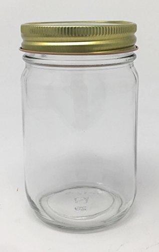 Packaging For You Pint (16oz) Old Fashioned Verpackung für Sie 12Pack Sturzglas mit Deckel Goldfarben (Jar Bulk Mason Deckel)