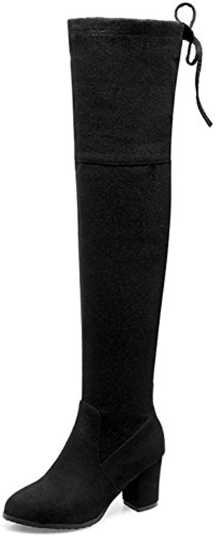 7539b18de4f Easemax Women s Dressy Dressy Dressy Faux Suede Round Toe Mid Chunky Heel  Zip Up Over Knee