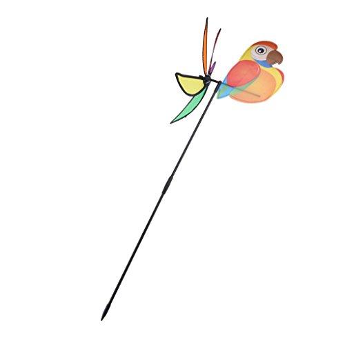 non-brand Sharplace DIY Tier Windmühle mit Standstab Spielzeug Kinder Spaß aus Kunststoff, Einfach zu Montieren - Papagei