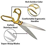 DEXEAN Golden Premium Stainless Steel Cloth Sharp Cutting Tailoring Scissors [ 10.5 Inches]