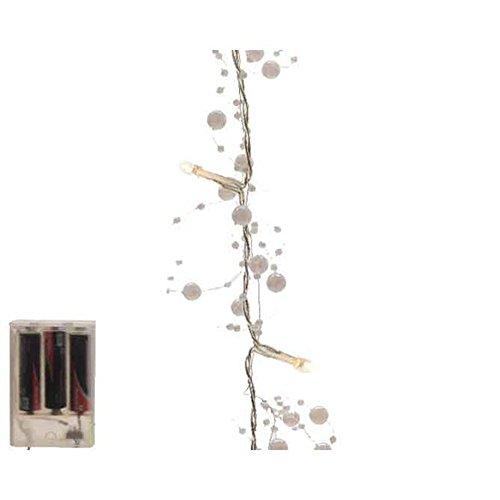 Kaemingk Acrylgirlande mit weißen Perlen und 20 warmweißen LED, Innen, batteriebetrieben, transparentes Kabel, Länge 120 cm 482503
