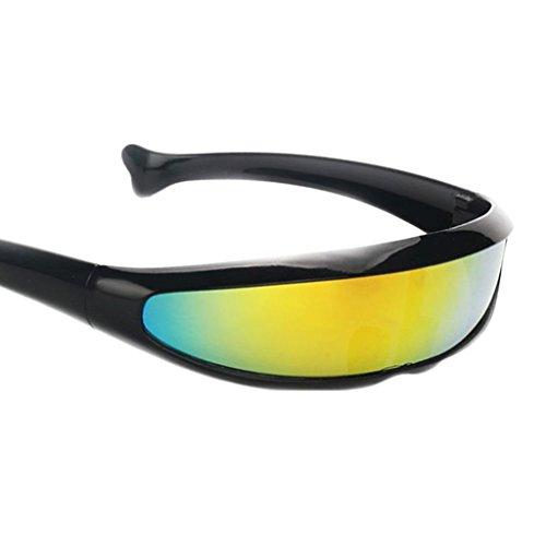futuristica stretta ciclope colore specchio lente visiera occhiali da sole