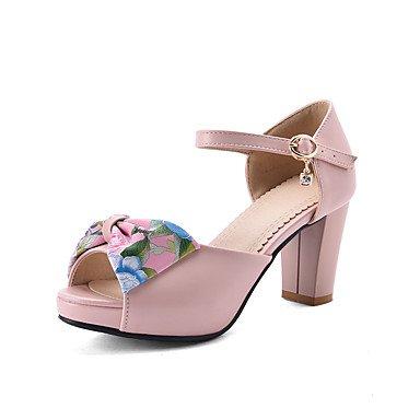 LvYuan Sandali-Ufficio e lavoro Formale Casual-Club Shoes-Quadrato-PU (Poliuretano)-Nero Rosa Bianco White