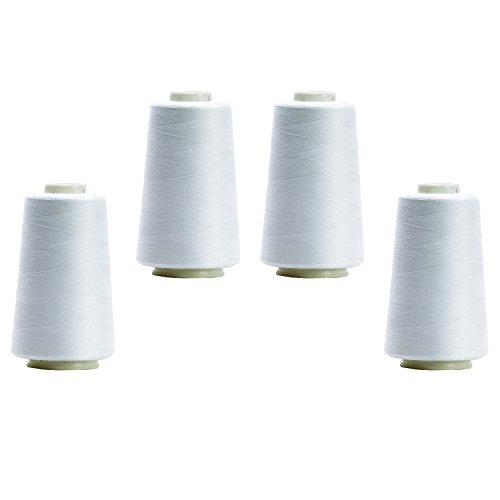 BIG-SAM - Conos de hilo para overlock (4 unidades, 2743 m), 26 colores disponibles, 126 - Weiss