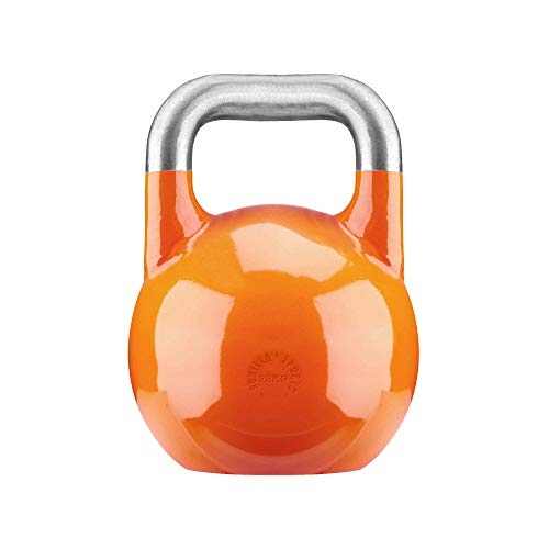 GORILLA SPORTS® Kettlebell Competition 28 kg Stahl Orange - Wettkampf Kugelhantel (28kg Kettlebells)