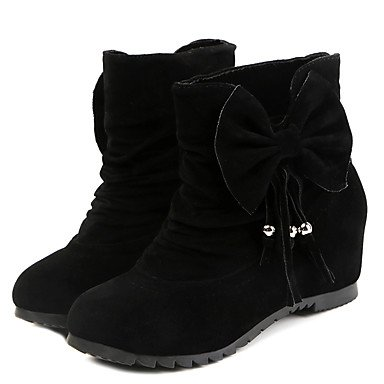 RTRY Chaussures femmes de similicuir PU Confort Nouveauté Automne Hiver Bottes Bottines Talon bout rond chaussures/Boots Fermeture éclair pour partie &; Noir US8/EU39/UK6/CN39 TBOlFw