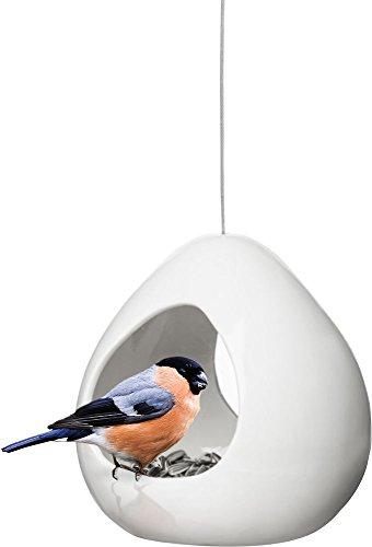 Sagaform Vogelfutterhaus, Keramik, Weiß, 13 x 14,5 x 16 cm -