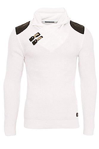 Redbridge Herren Strickpullover dünner Designer Slim Fit Pullover mit Funnel Kragen R-41500 (L, Weiß) -
