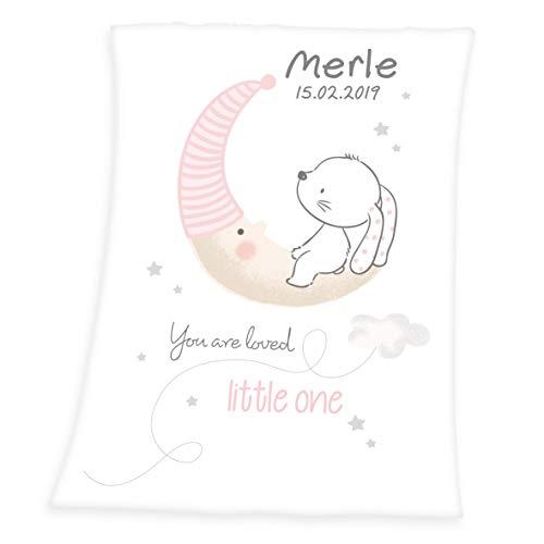 Wolimbo Soft-Peach Babydecke mit Wunsch-Namen und KLEINER HASE Motiv 75x100 cm - personalisierte/individuelle Geschenke für Babys und Kinder zur Geburt, Taufe und Geburtstag