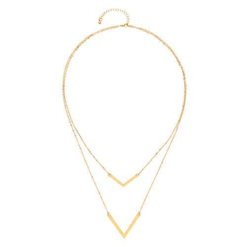 Front Row Damen Kette Chevron goldfarben - Länge 60-67cm (Chevron Ohrringe Gold)