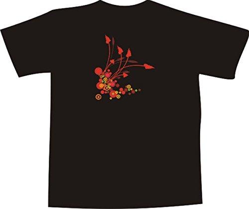 T-Shirt E286 Schönes T-Shirt mit farbigem Brustaufdruck - Logo / Grafik - minimalistisches Motiv - Kreise mit schönen Pflanzen Weiß