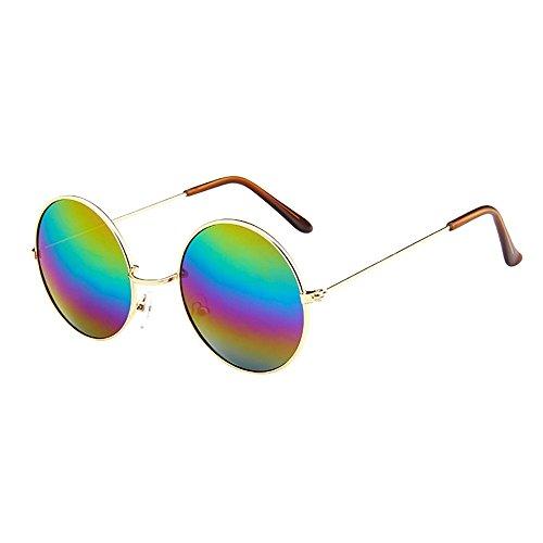 Lazzboy Frauen Männer Vintage Retro Brille Unisex Driving Round Frame Sonnenbrille Eyewear Runde Mit Schmalem Metall Gestell(G)