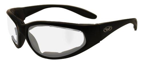 Klare Motorrad Rundum Sonnenbrille mit EVA-Schaum Futter und bruchsicher anti Beschlag Gläser mit kostenlosem Mikrofaser Aufbewahrungstasche.