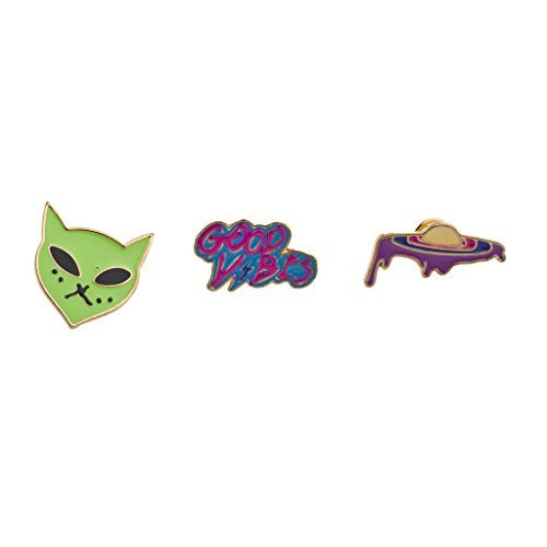LUX Zubehör Outerspace Alien Raumschiff Good Vibes Emaille Pin Brosche Set (3) (Großhandel Pin Roten Kleid)