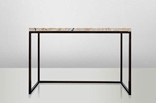 Casa Padrino Art Deco Beistelltisch Onyx/Metall 120 x 40 cm- Jugendstil Tisch - Möbel Konsole