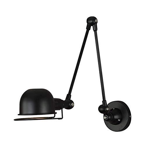 GXFXLP Wandleuchte, hoch und runter 360 ° drehbares Licht LED Creative Long Rod Einfache Nordic Schmiedeeisen Ecke Schlafzimmer Bett Retro Dekorative Nachttischlampe,Black (Einfache Menschliche Rod)