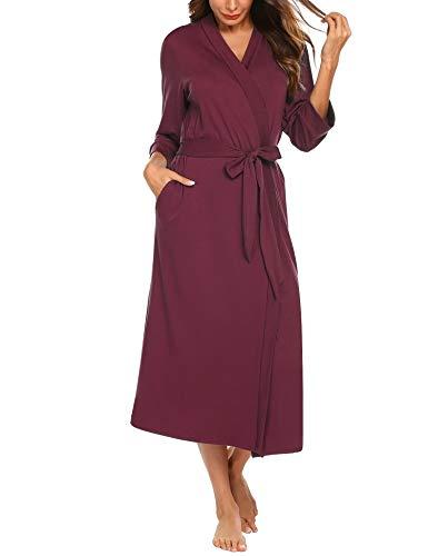 UNibelle Morgenmantel Leicht Damen Kimono Sauna Bademantel Baumwolle Lang Hausmantel Pyjama Nachthemd Mittel Weinrot XXL