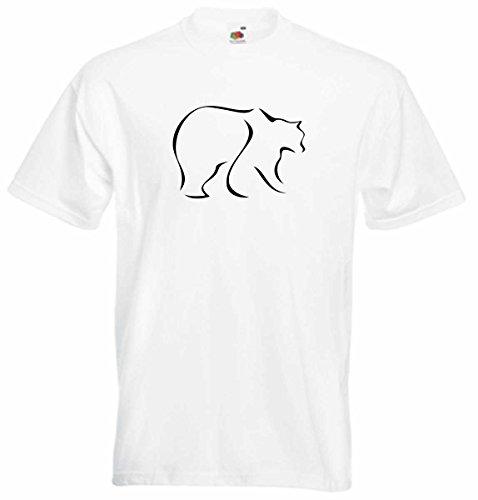 T-Shirt D288 T-Shirt Herren schwarz mit farbigem Brustaufdruck - Tribal Tier großer Bär / Grisly in Alaska Weiß
