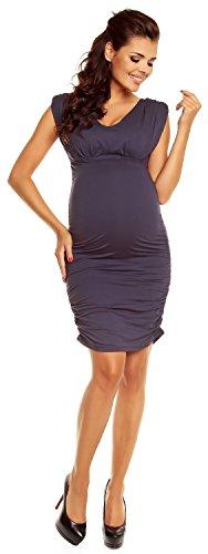 Zeta Ville - maternité - robe grossesse - sans manches - col V - femme - 525c Bleu Gris