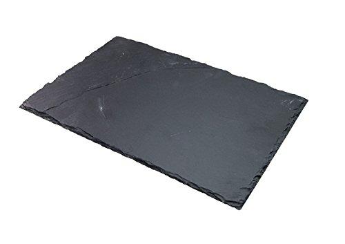 Winco WDL001-302, 11-1/2x 7-7/8Zoll Ardesia TAVO Slate Rechteckige Servierplatte, Servierteller, Vorspeisen Teller, schwarz, 6/CS -