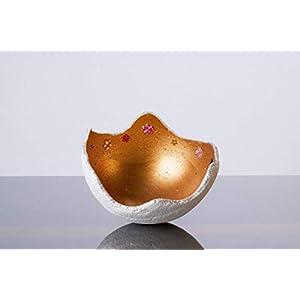 Lichtschale gold - Blumen - S (15cm) - Beton weiss - Unikat handmade - Geburtstagsgeschenk - Einzigartiges Geschenk - Gartendeko - Muttertagsgeschenk