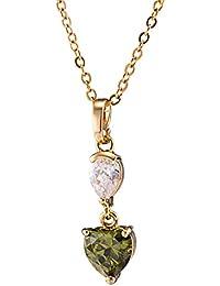 EOZY Collier Pendentif Deux Cœur Zircon Heart Femme Bijoux Jewelry Parure Amour Mariage