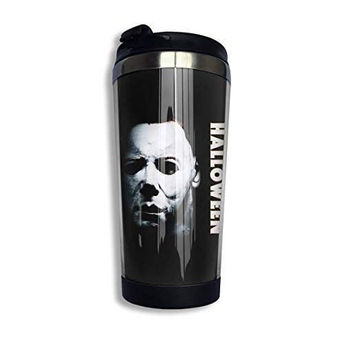 Trushop Kaffeebecher Kaffeetasse Halloween Michael Myers Coffee Cups Stainless Steel Water Bottle Cup Travel Mug Coffee Tumbler with Spill Proof Lid Graphic Travel Mug 400ml/14 oz
