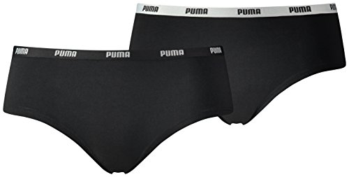 Puma Damen Iconic Hipster Low-Rise, 2er Pack Black