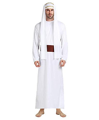 Lovelegis Einheitsgröße - Arabisches muslimisches Sheikh-Kostüm für Männer - Junge - Ausgezeichnete Qualität - Karnevalskostüme Halloween - Weiße Farbe