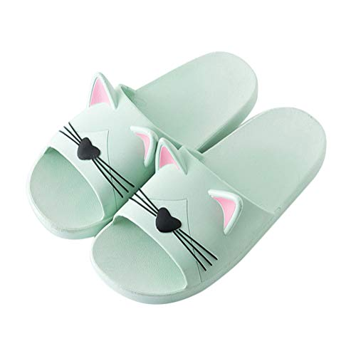 Minetom Unisex Badeschuhe Flip Flop Zehentrenner rutschfest Pantoffeln Sandalen Badezimmer Flache Süße Katze Strand Home Slippers für Herren Damen Grün 39/40 EU