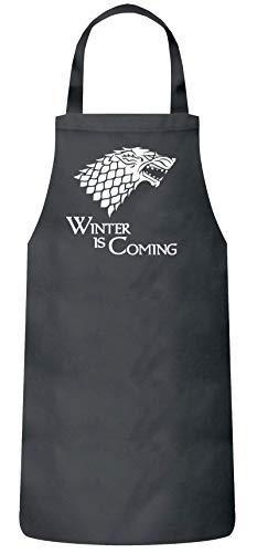 Frauen Herren Barbecue Baumwoll Grillschürze Kochschürze Wolf - Winter Is Coming, Größe: onesize,Dark Grey Köche Küche Tv