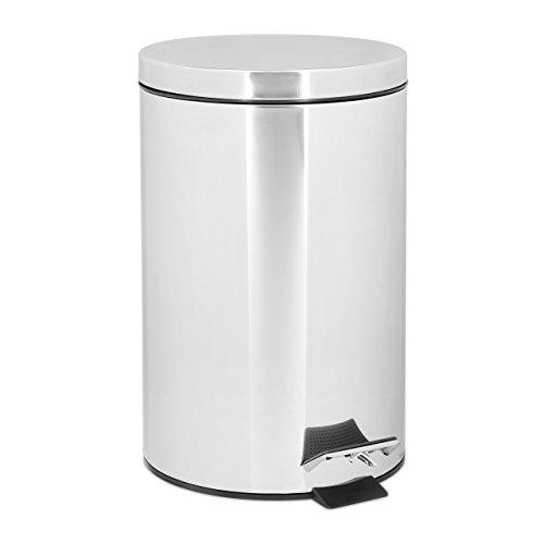 Relaxdays 10020378 Poubelle ronde à pédale 12 litres inox Seau amovible vide-ordures avec couvercle acier inoxydable optique métal pour la cuisine et la salle de bain Gris argenté 39 x 25 cm