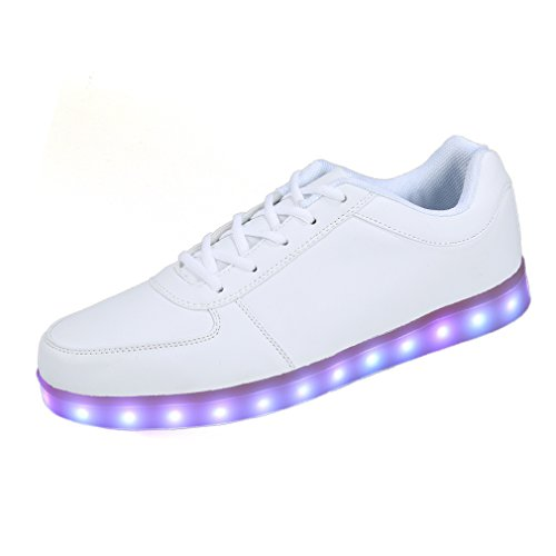 Our light up flashing trainers are fully rechargeable and stay lit for up to 8 hours. degree halo glow around the sole, which feature 7 colours (Red,Blue,Green,Purple,Light Blue,Lime Green,Green,Aqua) and 3 strobe settings slow blinking,fast blinking and glow fade.