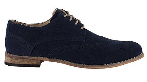Zapatos/Brogues con cordones de piel sintética, para hombre, 3colores, color azul, talla 42.5
