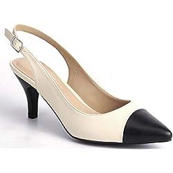 Greatonu Zapatos de Tacón Nuevos de Modas Suedes de Citas para Mujer Beige Negro Tamaño 41 EU