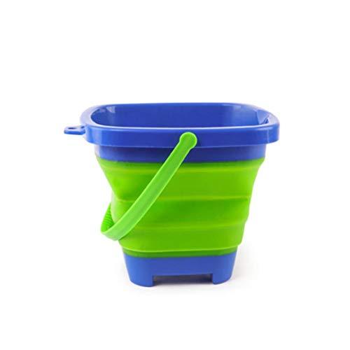 xuanyang524 Faltbarer Sand-Eimer, zusammenklappbarer Silikon-Eimer erweiterbar Strand-Eimer Fun Bunte Sand Spielzeug für Kinder 2 Liter / 0,5 Gallonen, Camping, Angeln und Home Storage