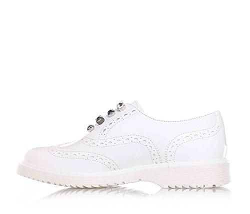 CULT - Chaussure blanche en cuir, style simple mais élégant, perforée, application de pierres décoratives sur le front, fille, filles, enfant, femme Blanc