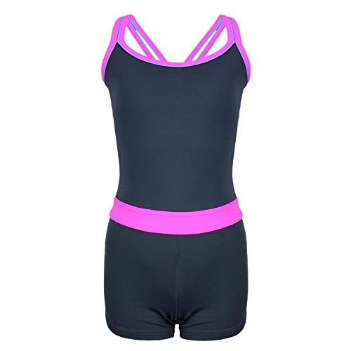 Aquarti Mädchen Badeanzug mit Bein Racerback, Farbe: Grau/Pink, Größe: 146 - Mädchen Badeanzug Bein