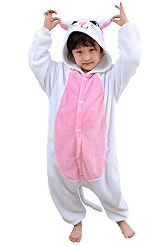 Pyjamas Kigurumi Jumpsuit Onesie Mädchen Junge Kinder Tier Karton Halloween Kostüm Sleepsuit Overall Unisex Schlafanzug Winter, Weiß Katze